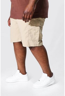 Stone beige Plus Fixed Waistband Cargo Short