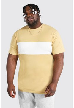 Stone beige Plus Size Longline Colour Block T-shirt