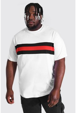 White Plus Size Colour Block Panel T-shirt