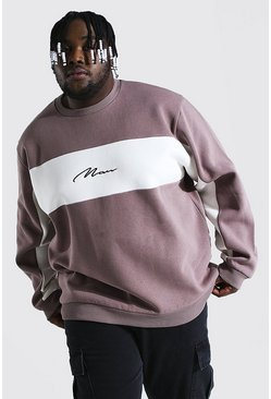 Taupe beige Plus Size Man Script Colour Block Sweatshirt