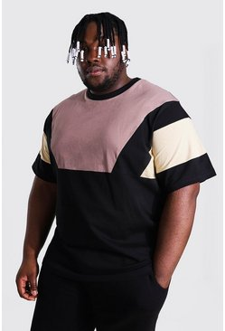 Plus Size Colour Block Panel T-shirt, Black noir