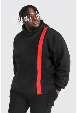 Black Plus Size Colour Block Panel Hoodie