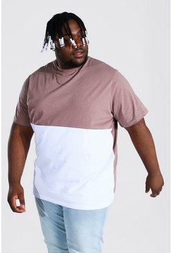 Taupe beige Plus Size Colour Block T-shirt
