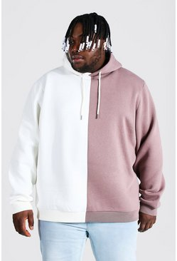 Brown Plus Size Half And Half Colour Block Hoodie