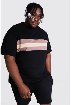 Black Plus Size Colour Block Panel T-shirt