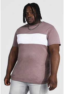 Taupe beige Plus Size Longline Colour Block T-shirt