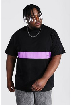 Black Plus Size Man Script Colour Block T-shirt