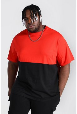 Red Plus Size Colour Block T-shirt