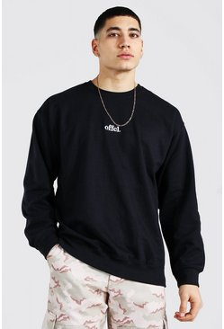 Black Oversized Official Embroidered Sweatshirt