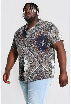 Ecru white Plus Size Short Sleeve Revere Bandana Shirt