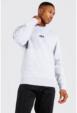 Ash grey Oversized Official Embroidered Sweatshirt