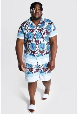 White Plus Short Sleeve Revere Shirt And Swim