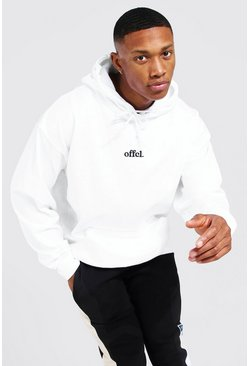 White Oversized Official Embroidered Hoodie