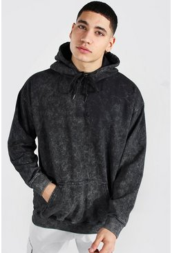 Charcoal grey Oversized Official Embroidered Acid Wash Hood
