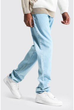 Tall Straight Leg Jeans mit Saum in Destroyed-Optik, Hellblau blau