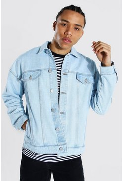 Light blue blue Tall Boxy Fit Distressed Denim Jacket
