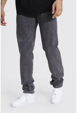 Charcoal grey Tall Relaxed Fit Buckle Hem Worker Jean