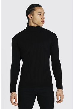 Black Tall Muscle Fit Ribbed Roll Neck Jumper