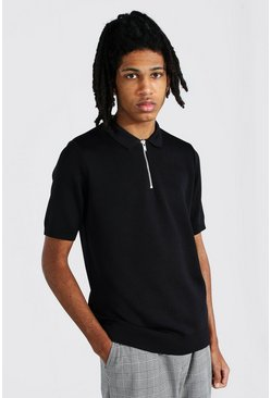 Black Tall Short Sleeve Half Zip Knitted Polo