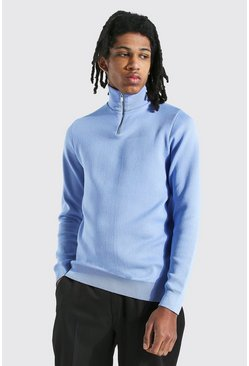 Dusty blue blue Tall Half Zip Funnel Neck Jumper