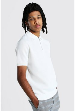 Ecru white Tall Short Sleeve Half Zip Knitted Polo