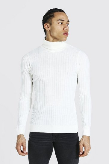 Cream white Tall Muscle Fit Ribbed Roll Neck Jumper