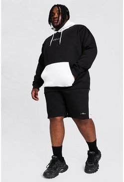 Black Plus Man Script Colour Block Short Tracksuit