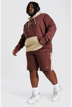 Plus Man Script Colour Block Short Tracksuit, Taupe Бежевый