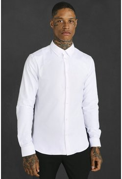 Slim Fit Long Sleeve Shirt, White blanco