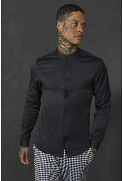 Slim Fit Grandad Collar Long Sleeve Shirt, Black negro