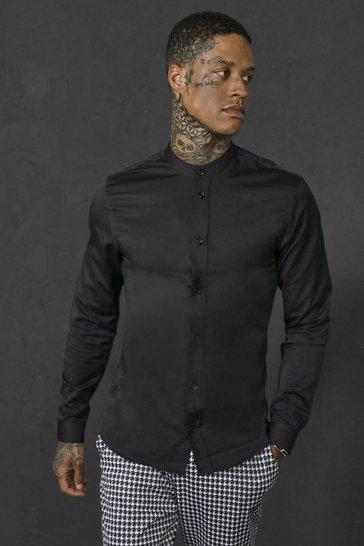 Black Slim Fit Grandad Collar Long Sleeve Shirt