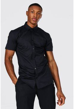 Slim Fit Short Sleeve Shirt, Black negro