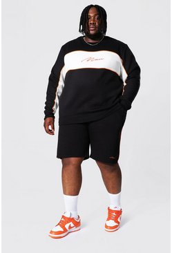 Black Plus Colour Block Man Short Sweater Tracksuit