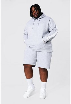 Grey marl grey Plus Man Script Side Panel Short Tracksuit