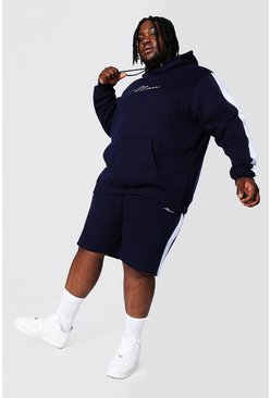 Navy Plus Man Script Side Panel Short Tracksuit