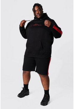 Black Plus Man Script Side Panel Short Tracksuit