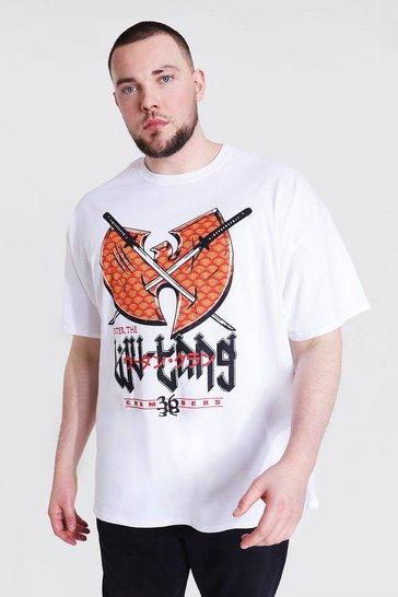 White Plus Size Wu-tang Swords License T-shirt