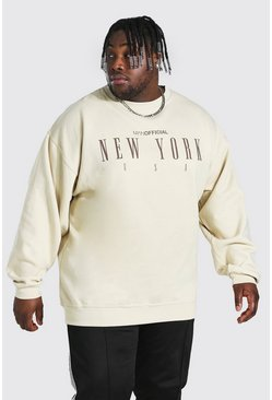 "Sand beige Plus size - ""New York City"" Sweatshirt med tryck"