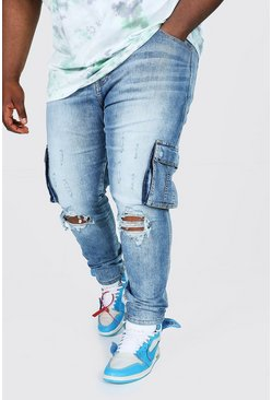 Plus Size Skinny Cargo Jean With Ripped Knee, Blue Синий