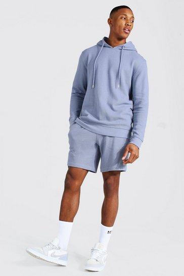 Blue Pique Hooded Short Tracksuit