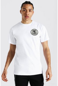 White Tall Official Man Badge T-shirt