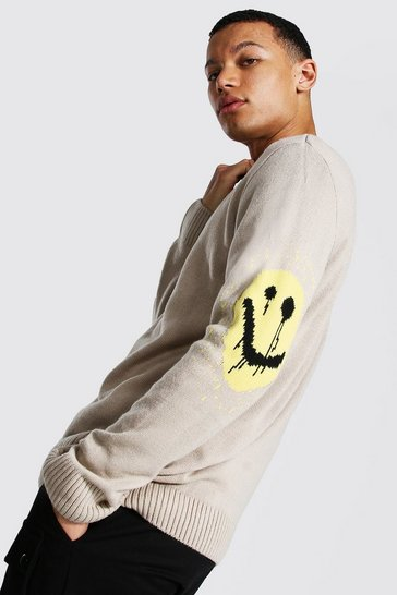 Grey Tall Drip Face Oversized Crew Neck Jumper