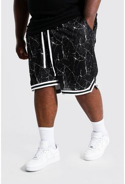 Black Plus Print Mesh Basketball Short