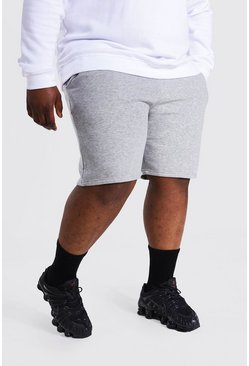 Grey marl grey Plus Jersey Shorts With Man Draw Cords