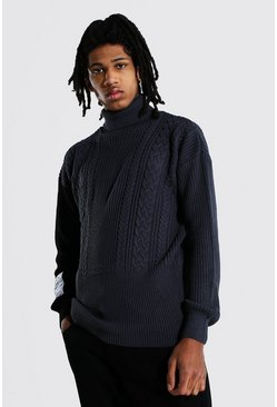 Charcoal grey Tall Man Roll Neck Jumper With Woven Label
