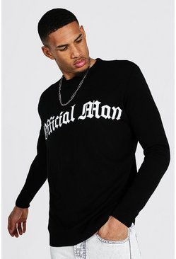 Black Tall Oversized Man Official Crew Neck Jumper