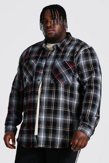 Black Plus Size Contrast Spliced Check Shirt