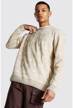 Stone beige Tall Oversized Bandana Crew Neck Jumper