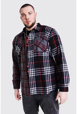 Charcoal grey Plus Size Spliced Contrast Flannel Shirt