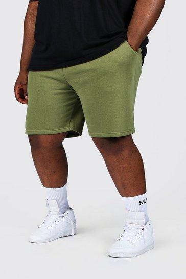Khaki Plus Jersey Shorts With Man Draw Cords